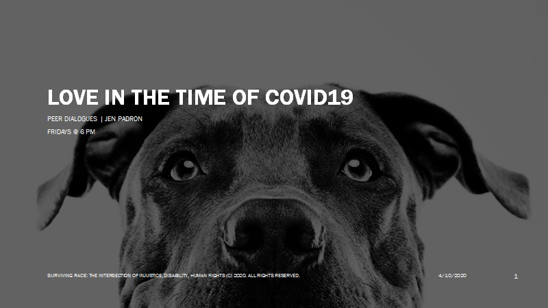 poster of a dog head under title 'Love in the Time of COVID-19'