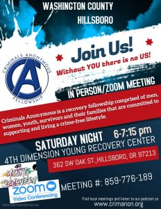 CA - Crim-Anon - Criminals Anonymous Fellowship – Open Virtual & In Person Meeting – Saturdays @ Online via Zoom