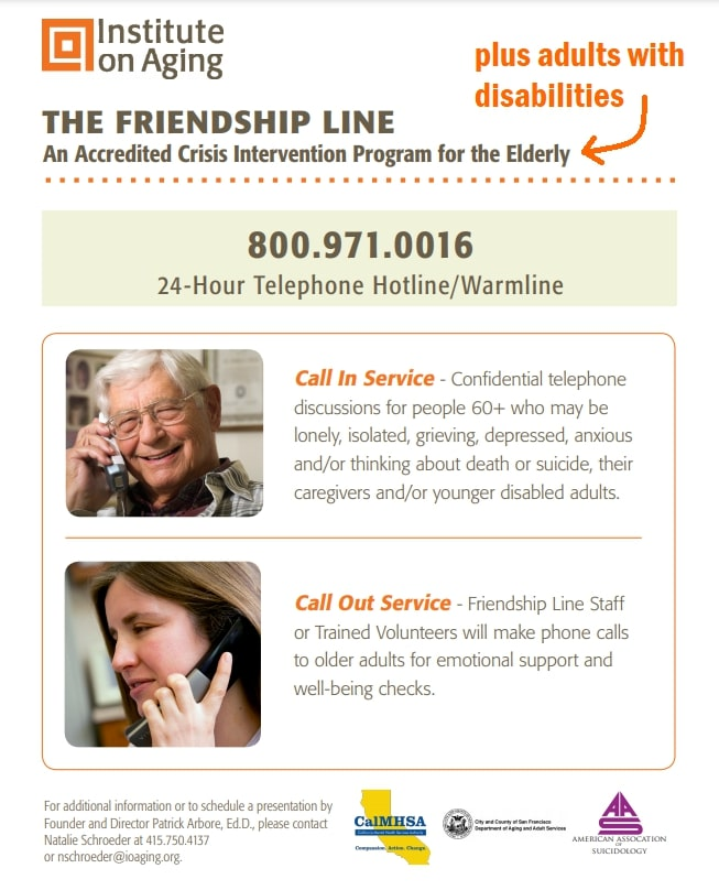 You are currently viewing Warmline – IOA – Institute on Aging – The Friendship Line – 24/7 – Weekdays and Weekends